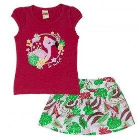 conjunto infantil feminino blusa e short saia vermelho tropical branco 6659 8931 3