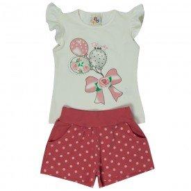conjunto infantil feminino blusa e short natural off melancia 161068 9435