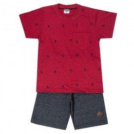 conjunto camiseta vermelho e bermuda preto jeans 1879 6005