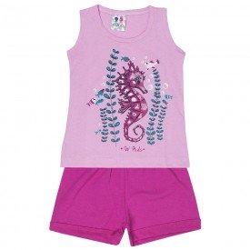 conjunto regata rosa fundo mar com glitter e shorts pink 126 00529