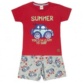 conjunto camiseta summer vermelha e bermuda cinza 20242 4400
