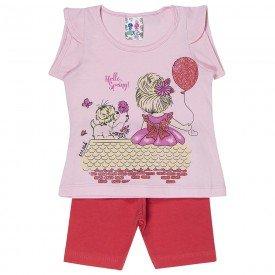 conjunto menina rosa bebe com estampa frontal de menina com balao e shorts laranja 127 00547