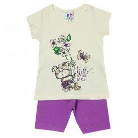 conjunto menina off estampa frontal manga curta com shorts lilas 129 00553