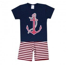conjunto camiseta marinho e bermuda listrada vermelha 1136 3593