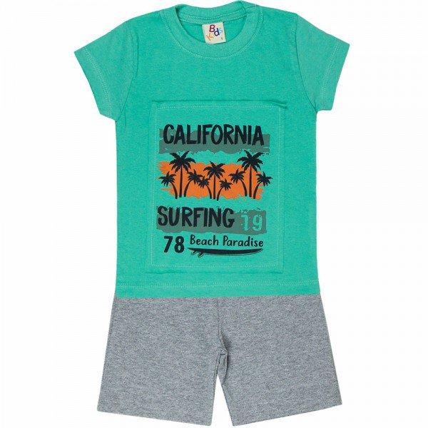 conjunto camiseta meia malha california e bermuda verde 121016 4990