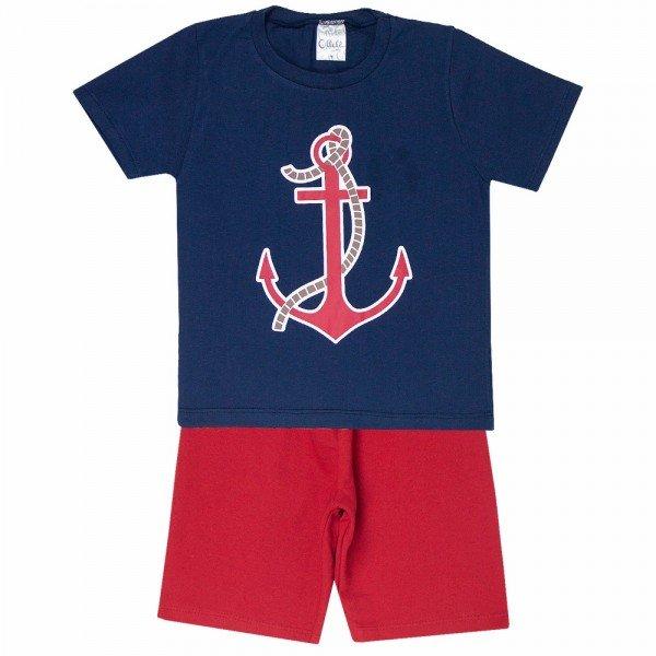 conjunto camiseta marinho e bermuda vermelha 1136 3596