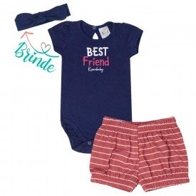 conjunto bebe menina body e short brinde faixa de cabelo marinho vermelho kw003 9382