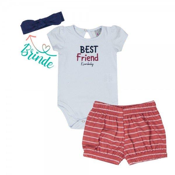 conjunto bebe menina body e short brinde faixa de cabelo branco vermelho kw003 9383