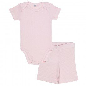 conjunto bebe body canelado e shorts rosa olv 004