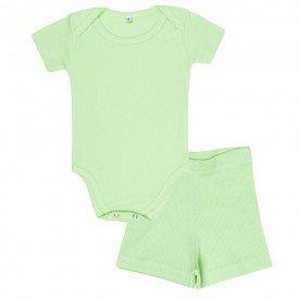 conjunto bebe body canelado e shorts verde olv 002