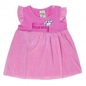 vestido rosa cerejeira em cotton com tule 7526 00436