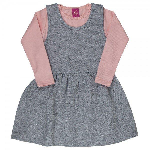 conjunto vestido salopete mescla de moletinho glitter e blusa rosa 3666 3166