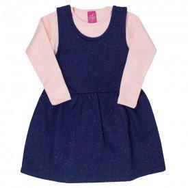conjunto vestido salopete marinho de moletinho glitter e blusa rosa 3666 3165