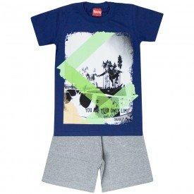 conjunto camiseta marinho e bermuda moletinho 4355 3995