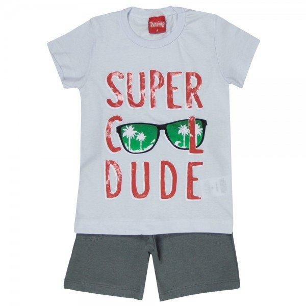 conjunto camiseta branca cool dude e bermuda chumbo 4344 3961