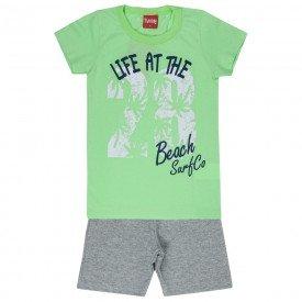 conjunto camiseta verde long e bermuda moletinho 4339 3945
