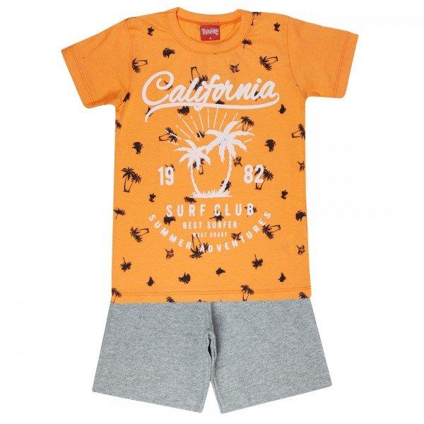 conjunto camiseta laranja california e bermuda mescla 4350 3980