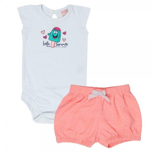 conjunto feminino infantil body cotton branco e shorts laranja neon 0056 4057 2