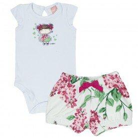 conjunto feminino infantil body cotton branco e short marfim 0054 4054 2