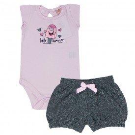 conjunto feminino infantil body cotton rosa e short moletinho mescla 0056 4058