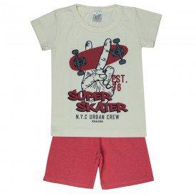 conjunto camiseta off white skater e bermuda vermelha 0175 5122