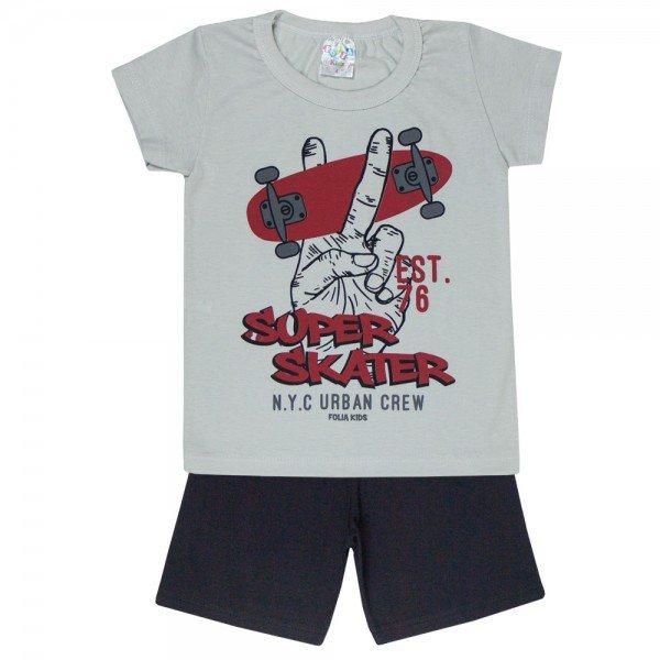 conjunto camiseta cinza skater e bermuda preta 0175 5121