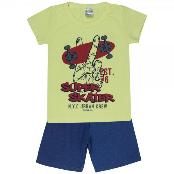conjunto camiseta amarela skater e bermuda petroleo 0175 5119