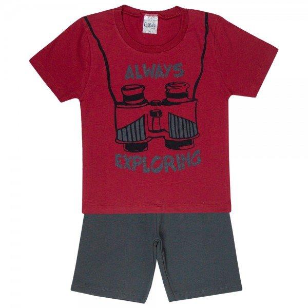 conjunto explorer camiseta vermelha e bermuda cinza 1144 3625