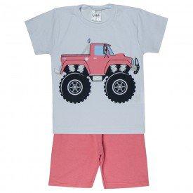 conjunto camiseta branca truck e bermuda goiaba 1138 3601