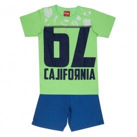 conjunto camiseta verde silk e bermuda moletinho 4354 3992