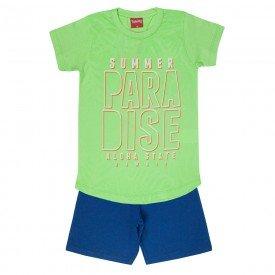 conjunto camiseta verde paradise e bermuda 4348 3974