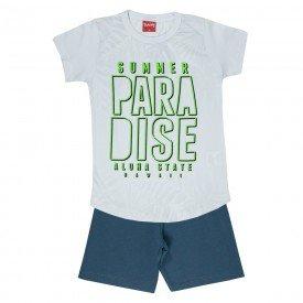 conjunto camiseta branco paradise e bermuda 4348 3973
