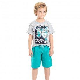 conjunto camiseta cinza island e bermuda verde 3983 4621