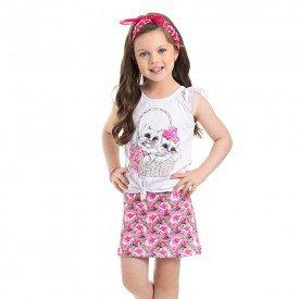 conjunto blusa gatinhos e short crepe branco 3931 4538