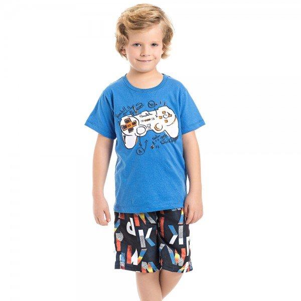 conjunto camiseta azul e bermuda marinho play game 3986 4630