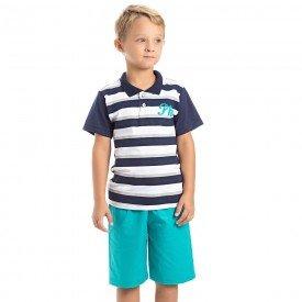 conjunto camiseta polo marinho e bermuda sarja verde 3987 4633