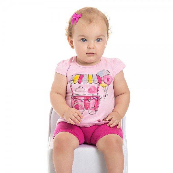 conjunto blusa estampada e short cotton rosa 3904 4478