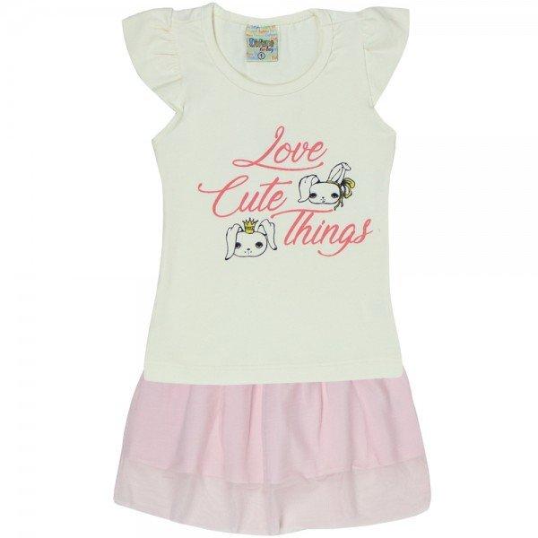 conjunto de cotton off rosa claro com saia em tule 7558 00426