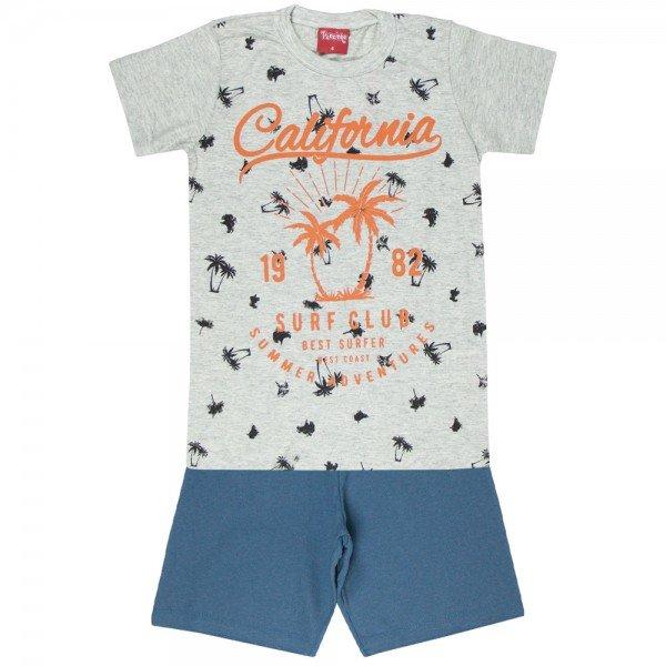 conjunto camiseta mescla california e bermuda chumbo 4350 3979