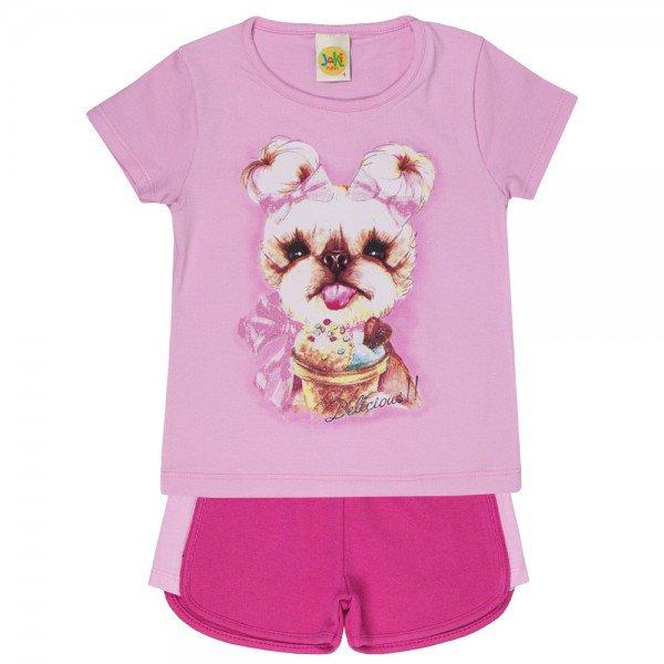conjunto blusa rosa e short pink 1659 3778