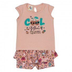 conjunto blusa girl power perola e short laranja 121045 5043