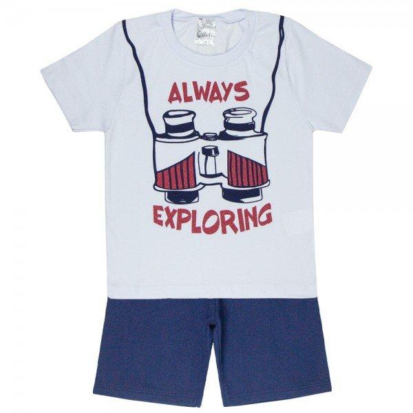 conjunto explorer camiseta branca e bermuda marinho 1144 3624