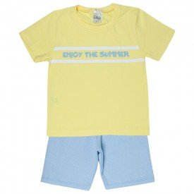 conjunto camiseta amarela summer e bermuda azul 1140 4041