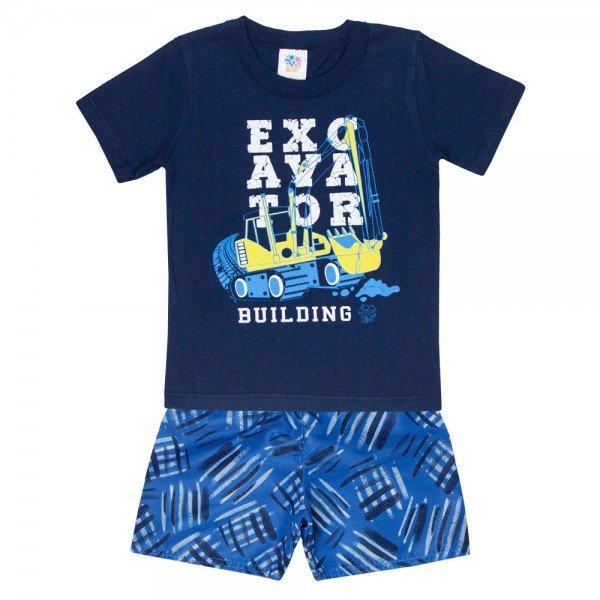 conjunto infantil masculino camiseta e bermuda tactel marinho azul 509 9240 2