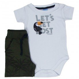 conjunto bebe masculino body branco tucano e bermuda verde 4052 4156