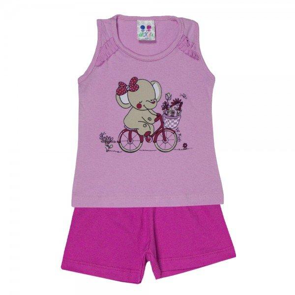 conjunto menina rosa silk elefante com glitter e shorts 195 00535