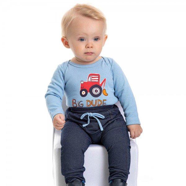 conjunto bebe masculino body big dude e calca saruel azul claro marinho 4874 9750