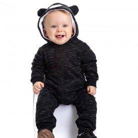 macacao bebe masculino com capuz de ursinho preto 4879 9763