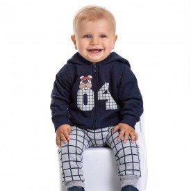 conjunto bebe masculino jaqueta 04 com capuz e calca saruel xadrez marinho mescla 4884 9772