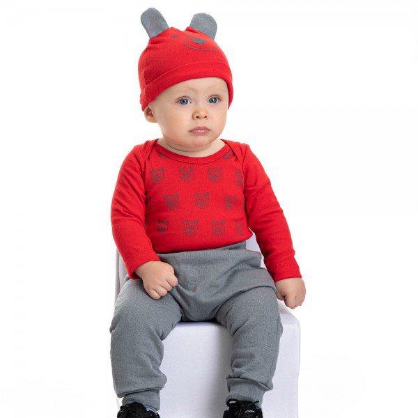 conjunto bebe masculino body ursinho e calca saruel touca de brinde vermelho chumbo 4879 4948 9754
